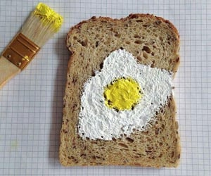 art, bread, and egg image