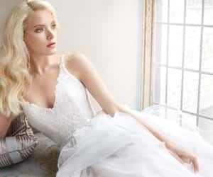 blonde, wedding inspiration, and weddingdress image
