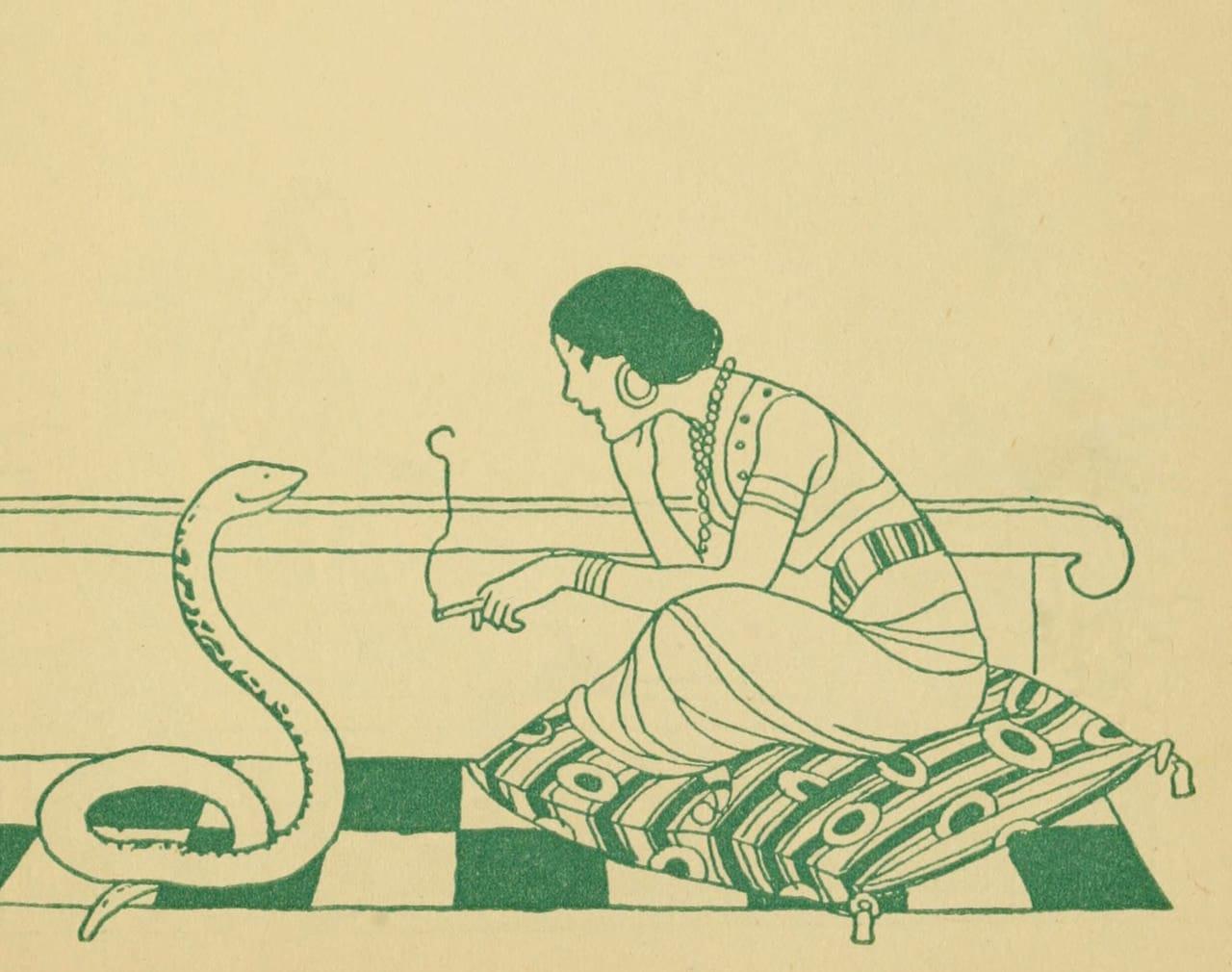art, green, and snake image