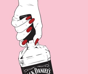 pink, jack daniels, and nails image