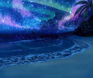 beach, star, and starry sky image
