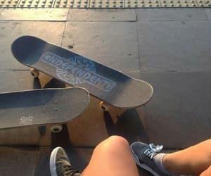 boys, girls, and skateboard image