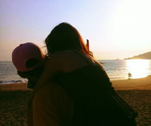 atardecer, couple, and sunset image