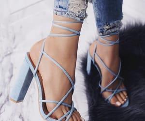 blue, heels, and denim image