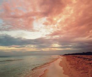 beach, sky, and sunset image