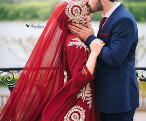 bride, hijab, and red image