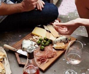food, wine, and couple image
