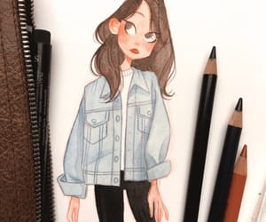 art, brunette, and cutie image