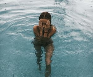 girl, summer, and swimming pool image
