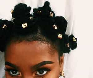 hair, bantu knots, and black image