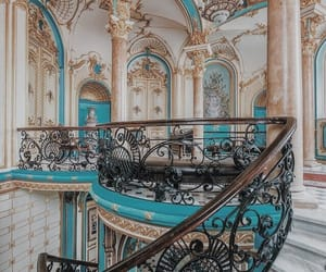 aesthetic, blue, and staircase image