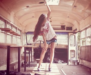 girl, hair, and bus image