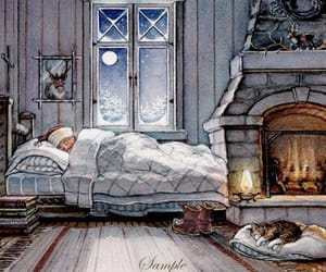 christmas, art drawing illustration, and cozy bed image