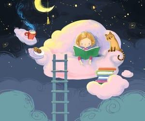 night, books, and cat image