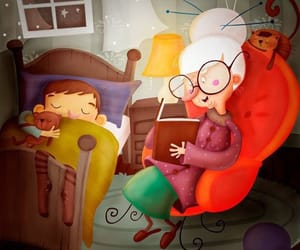 art drawing illustration, reading night family, and cozy bed night sleep image