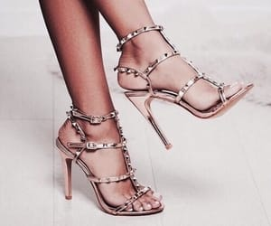 feet, gold, and heels image
