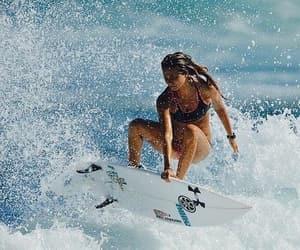 surf, girl, and sun image