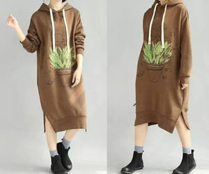 hooded dress, long sleeves, and fashion dress image
