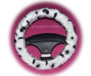 dalmatian, steering wheel cover, and faux fur image