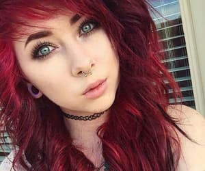 emo, hairstyle, and red hair image