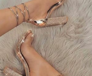 gold, heels, and high heels image