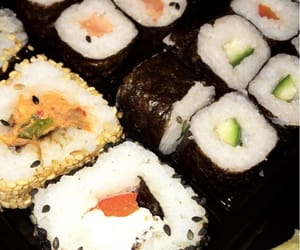 food, snaps, and sushi image