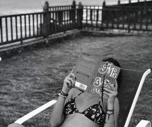 black&white, book, and reading image
