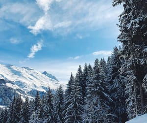 blue sky, mountains, and nature image