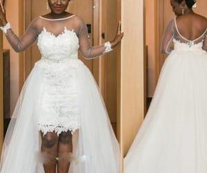 plus size wedding dress, sheer long sleeves, and high low wedding dress image