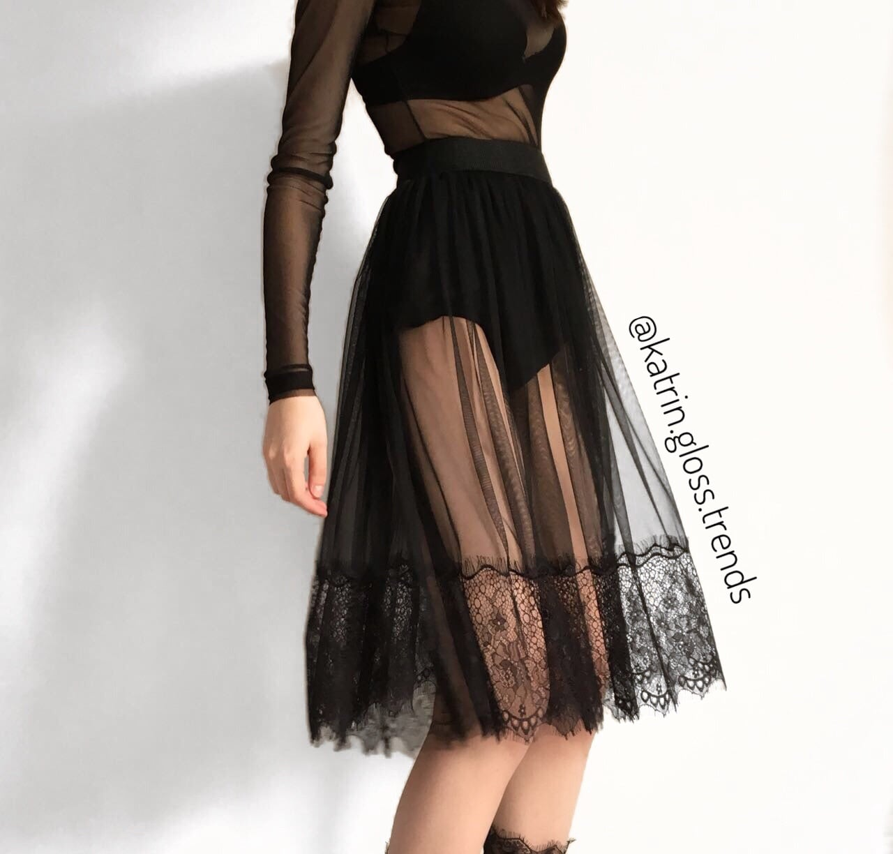 black skirt, fashion, and trend image