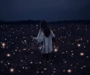 girl, light, and night image