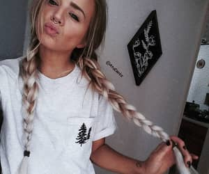 braid, hair, and lips image