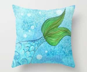 blue green, sea green, and throw pillow image