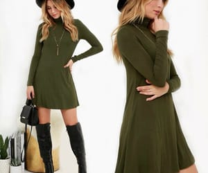 black boots, dress, and green image