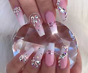 diamond, pink, and nails image
