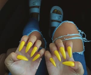nails, yellow, and jeans image
