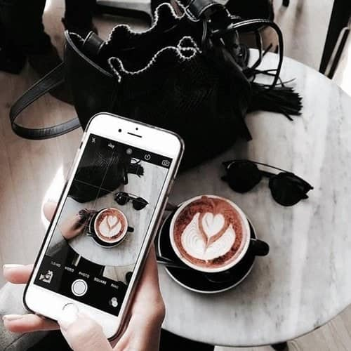coffee, phone, and photography image