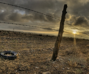 Barbed Wire, sunrise, and fence image