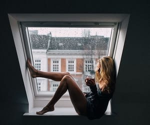 girl, blonde, and rain image