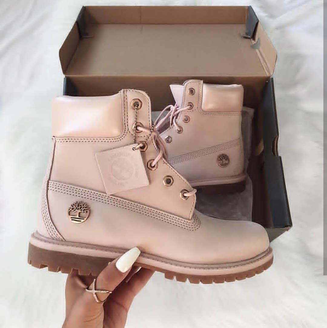 pink timbs with bow