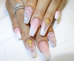 diamonds, glam, and nail art image