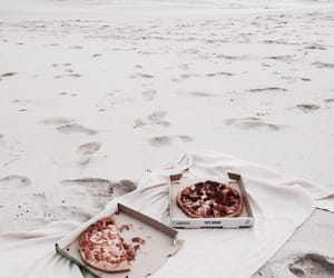 beach, pizza, and food image
