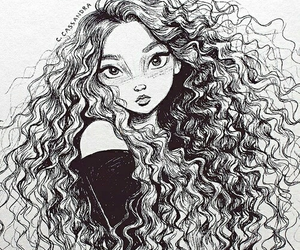 curly, curly hair, and dibujo image