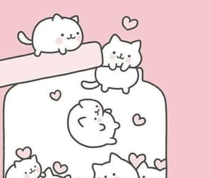 wallpaper, pink, and cat image