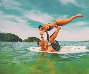 beach, couple, and surfboard image