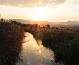 stream, sunset, and water image
