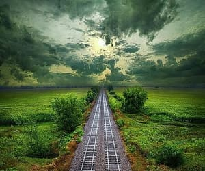 green, train tracks, and landscape image