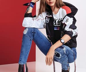 gigi hadid, tommy hilfiger, and outfit image