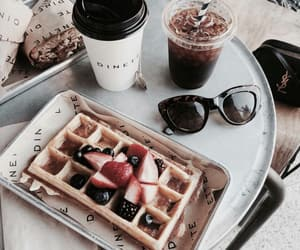 food, coffee, and waffles image