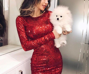 dress, red, and dog image